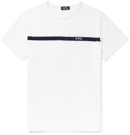Yukata Embroidered Terry Trimmed Cotton Jersey T Shirt by A.P.C.