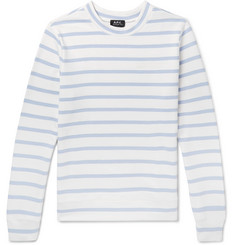 A.P.C. Slim-Fit Embroidered Striped Cotton-Blend Jersey Sweatshirt