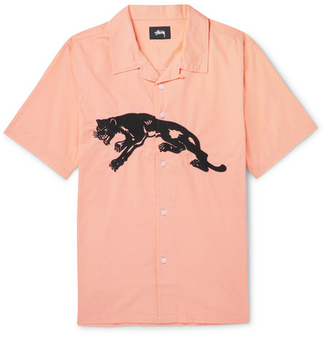 STUSSY Camp-collar Embroidered Cotton-poplin Shirt - Peach