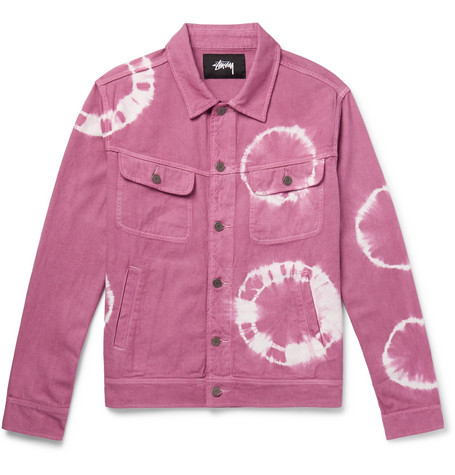 Tie Trucker Denim dyed Stüssy Jacket Pink rqarw