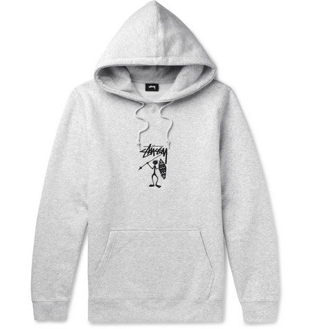 STUSSY Embroidered Fleece-Back Jersey Hoodie
