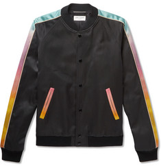 Saint Laurent Dégradé-Trimmed Printed Cotton-Blend Satin Bomber Jacket