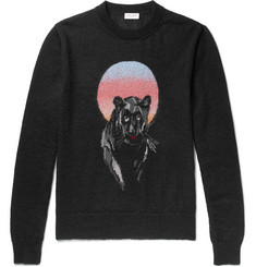 Saint Laurent Panther Intarsia Mohair-Blend Sweater