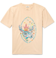 Acne Studios Bemabe Rave Moose Embroidered Cotton-Jersey T-Shirt