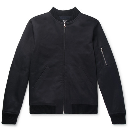 Fleece-back Cotton Bomber Jacket - Navy