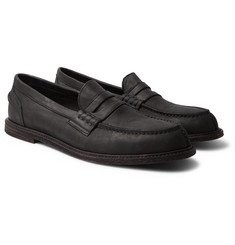 Hender Scheme - Split-Toe Distressed Leather Penny Loafers