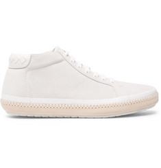 Bottega Veneta Spritz Intrecciato Leather-Trimmed Suede Sneakers