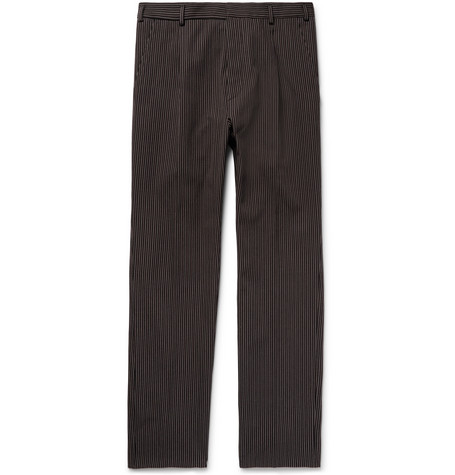 Slim-fit Pleated Striped Cotton And Wool-blend Trousers Bottega Veneta Choice Cheap Online Buy Cheap Sale Buy Cheap Reliable Where To Buy Low Price KSacx