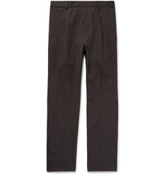 Bottega Veneta Slim-Fit Pleated Striped Cotton and Wool-Blend Trousers