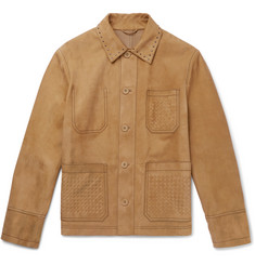 Bottega Veneta Studded Intrecciato-Detailed Suede Blouson Jacket
