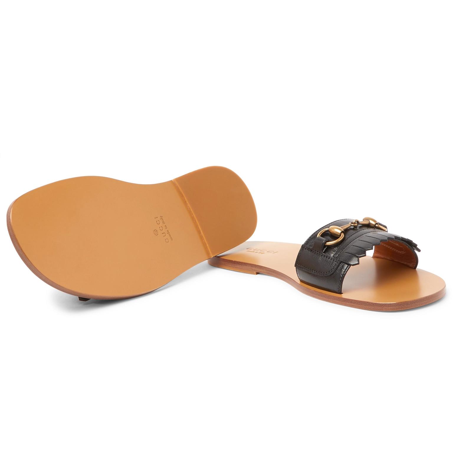 bc0622ad8 Gucci - Horsebit Fringed Leather Sandals