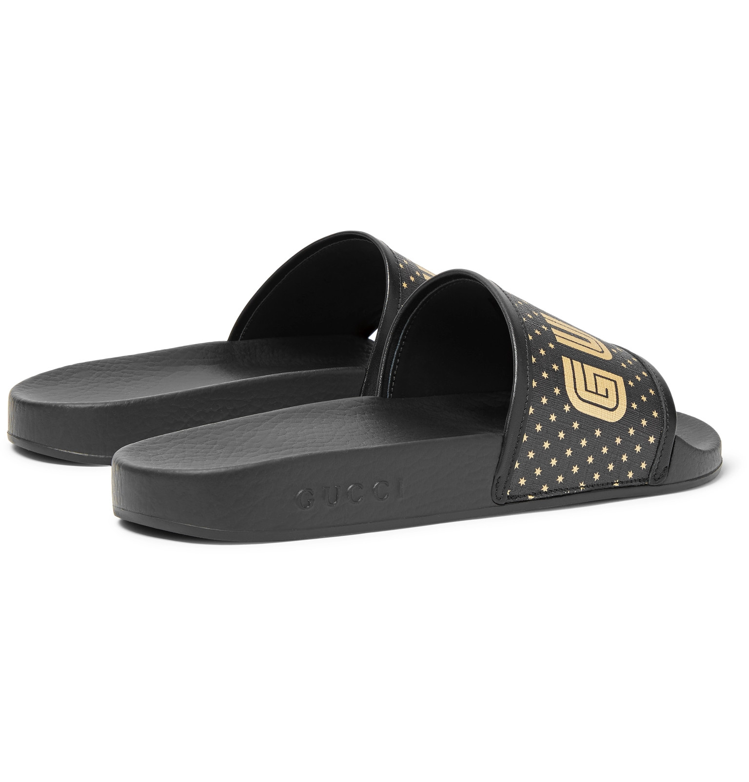 b832f338781a Gucci - Leather-Trimmed Logo-Print Rubber Slides