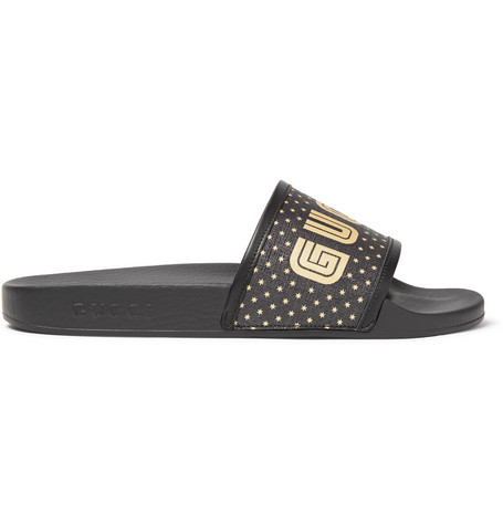 1aaa2d9d13b1 Gucci Leather-Trimmed Logo-Print Rubber Slides - Black In 1085 Nero