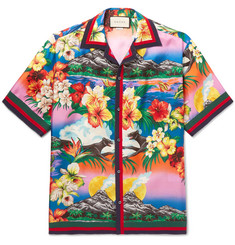 Gucci Camp-Collar Grosgrain-Trimmed Floral-Print Silk Satin-Twill Shirt