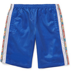 Gucci Striped Mesh and Satin Drawstring Shorts