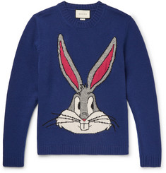 Gucci + Warner Bros Embroidered Wool-Jacquard Sweater
