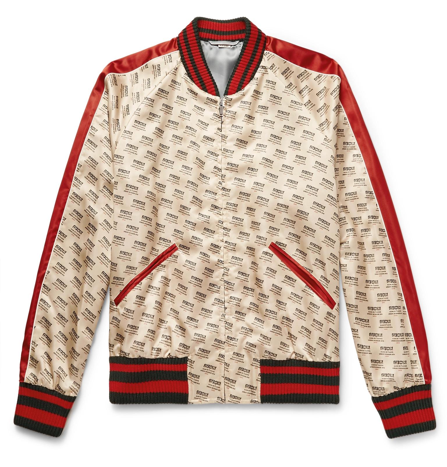 813035dc1f510 Gucci - Logo-Print Satin Bomber Jacket