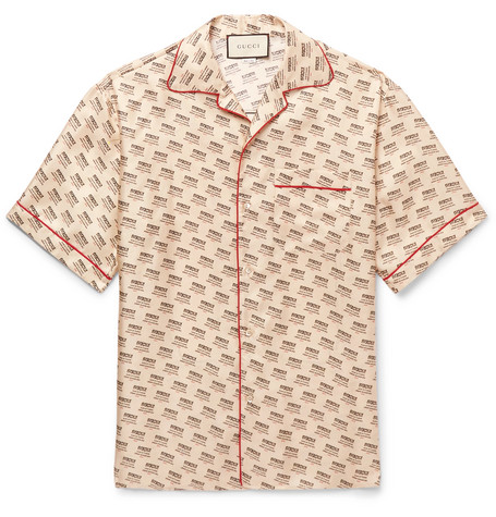 Camp Collar Piped Logo Print Silk Twill Shirt by Gucci