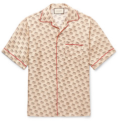 Gucci Camp-Collar Piped Logo-Print Silk-Twill Shirt