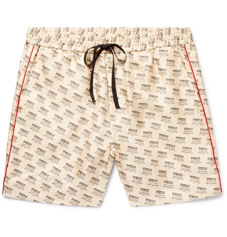ea5840b061c6 Shoptagr | Slim Fit Piped Logo Print Silk Twill Shorts by Gucci