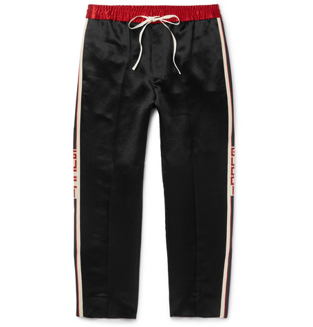 Tapered Cropped Striped Satin Drawstring Trousers - Black
