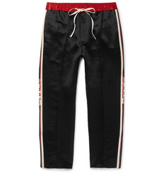 Gucci Tapered Cropped Striped Satin Drawstring Trousers