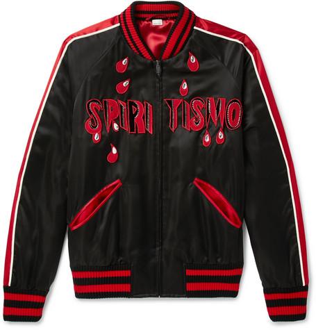 Spiritismo Embellished Satin Bomber Jacket, White