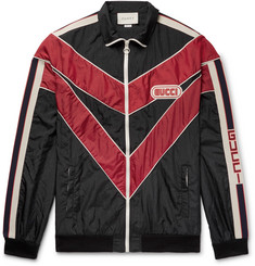 Gucci Appliquéd Striped Shell Jacket