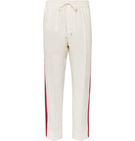 Webbing-trimmed Linen Drawstring Trousers Gucci 4MLXvgR9hZ