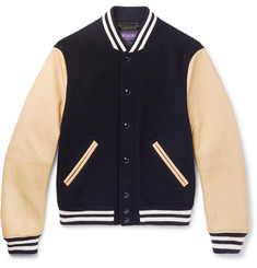 Ralph Lauren Purple Label Slim-Fit Leather and Felted Wool and Cashmere-Blend Bomber Jacket