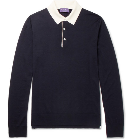 Slim-fit Wool Polo Shirt - Navy