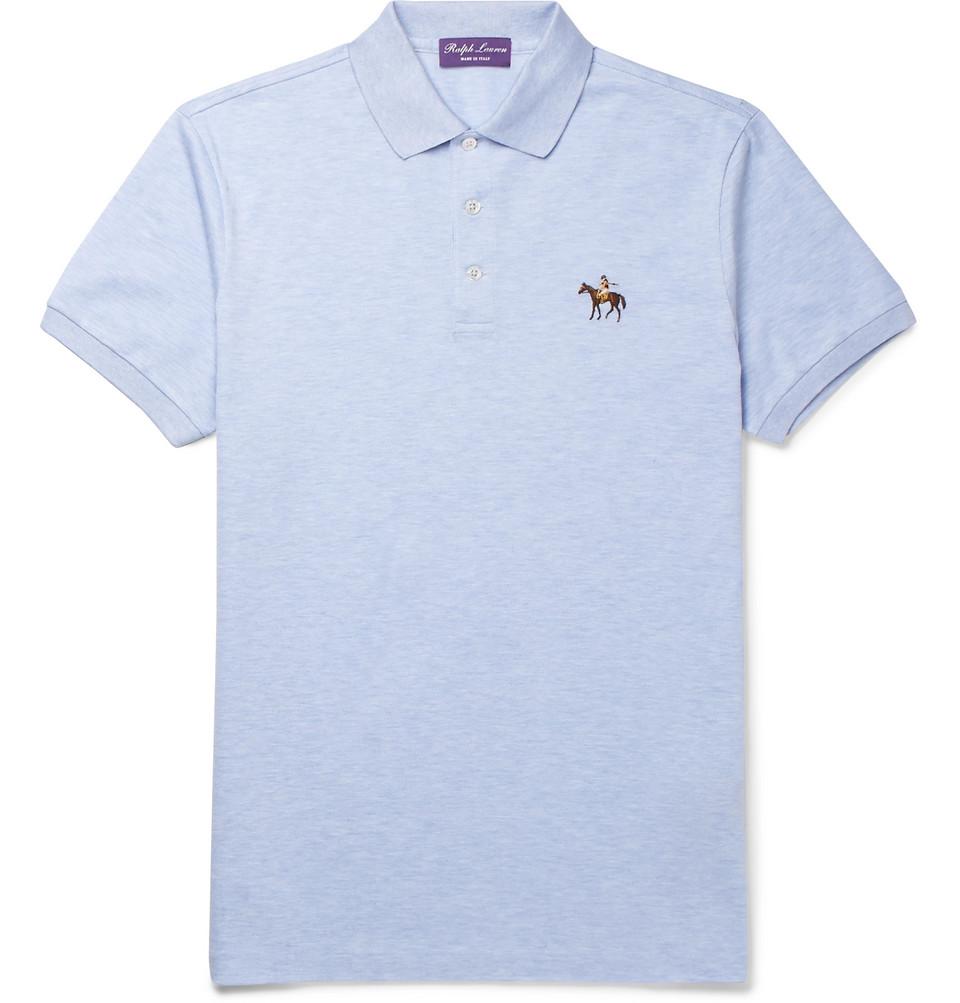 Cotton-pique Polo Shirt - Blue