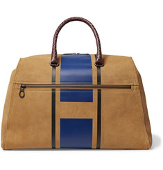 Bottega Veneta Croc-Effect Intrecciato Leather-Trimmed Printed Suede Holdall