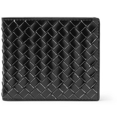 Bottega Veneta Intrecciato Metal-Brushed Leather Billfold Wallet