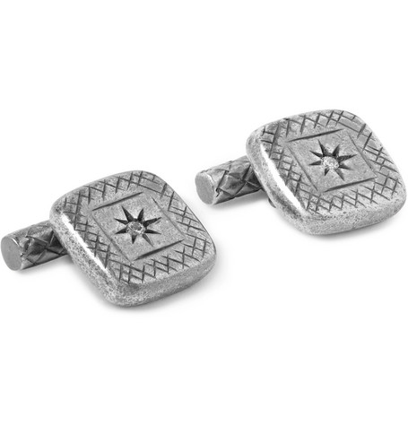 Bottega Veneta – Burnished Sterling Silver Cufflinks – Silver