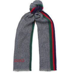 Gucci Webbing-Trimmed Cotton and Linen-Blend Scarf