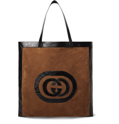 Gucci - Patent Leather-Trimmed Suede Tote Bag