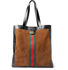 Gucci Patent Leather-Trimmed Suede Tote Bag