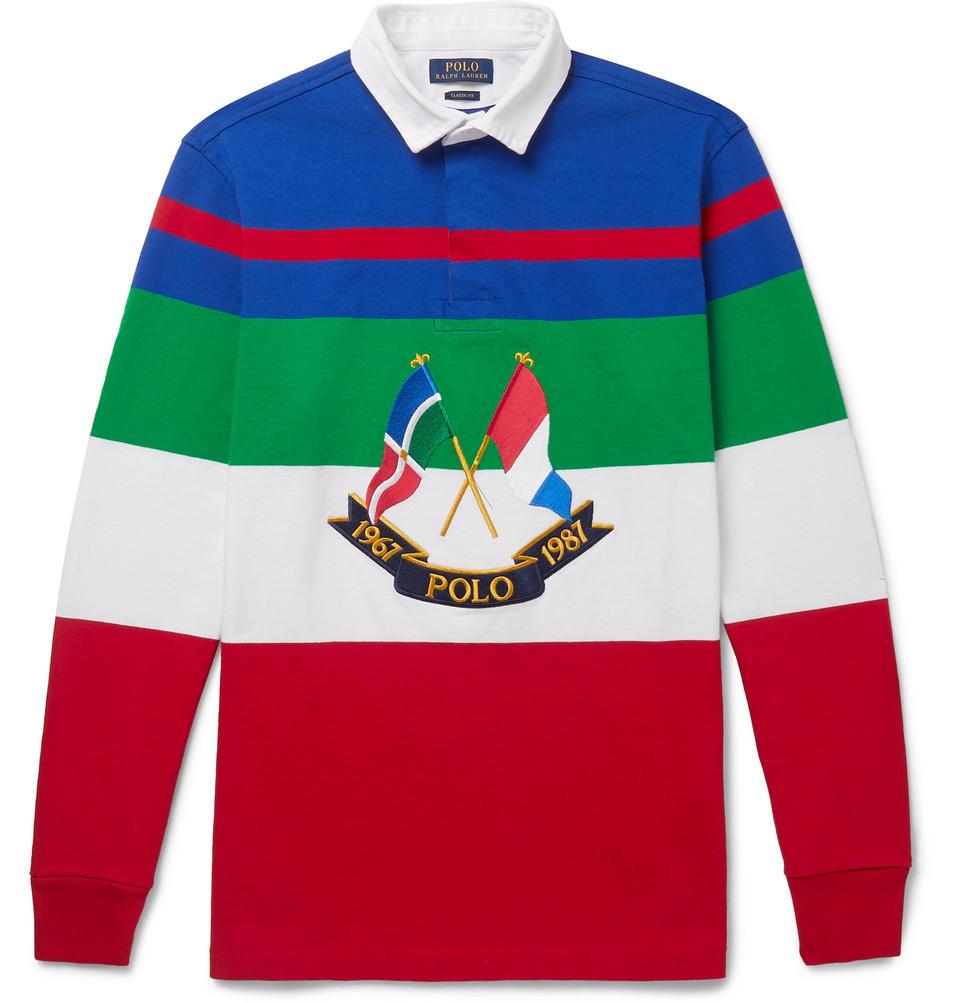 Billede af Appliquéd Striped Cotton-jersey Polo Shirt - Red