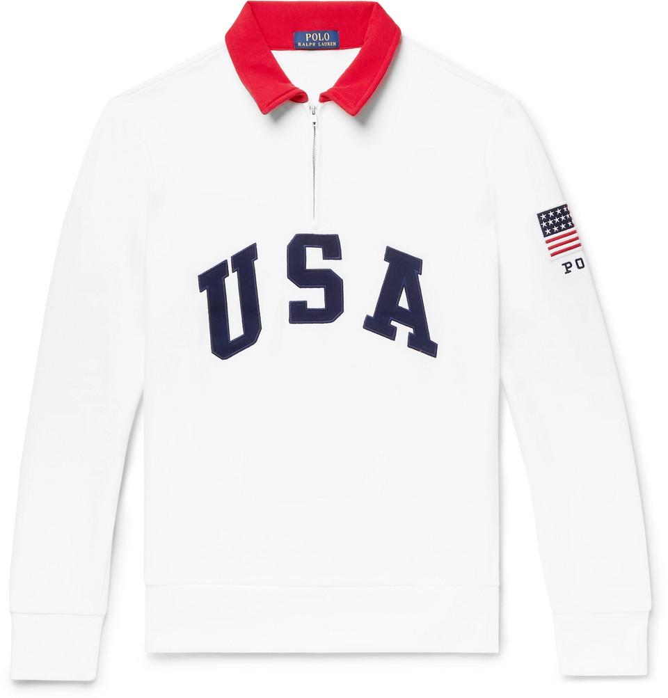 Billede af Appliquéd Fleece-back Cotton-blend Jersey Half-zip Sweatshirt - White