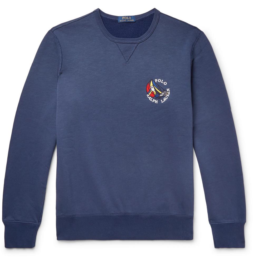 Billede af Appliquéd Fleece-back Cotton-blend Jersey Sweatshirt - Storm blue