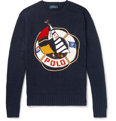 Polo Ralph Lauren Embroidered Cotton and Linen-Blend Sweater