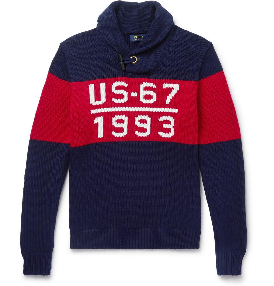 Billede af 1993 Shawl-collar Intarsia Cotton Sweater - Navy