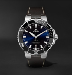 Oris - Aquis 43mm Stainless Steel and Leather Watch