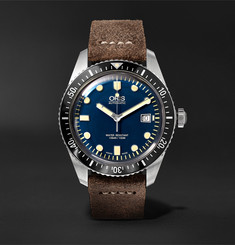 Oris - Divers Heritage Sixty-Five 42mm Stainless Steel and Burnished-Leather Watch