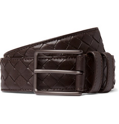 Bottega Veneta 3cm Brown Intrecciato Leather Belt