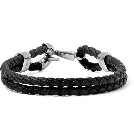 Bottega Veneta Intrecciato Leather And Burnished Silver-tone Bracelet In Black