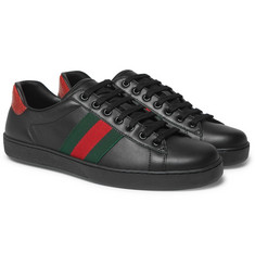 Gucci - Ace Snake-Trimmed Leather Sneakers