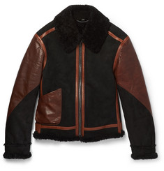 Burberry Leather-Panelled Shearling Aviator Jacket
