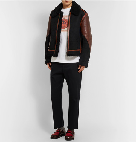 Leather Panelled Shearling Aviator Jacket by Burberry